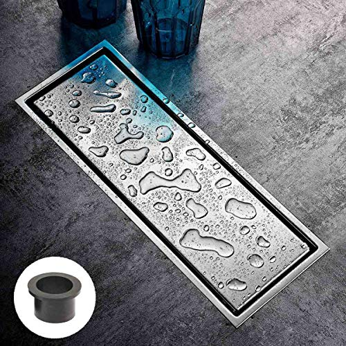 """[Rubber Gasket Included]Linear Shower Floor Drain with Tile Insert Grate - 12""""x4.4"""" Shower Drain with Multipurpose Cover, Floor Drain Make of Stainless Steel, -  LUIFOOMO"""