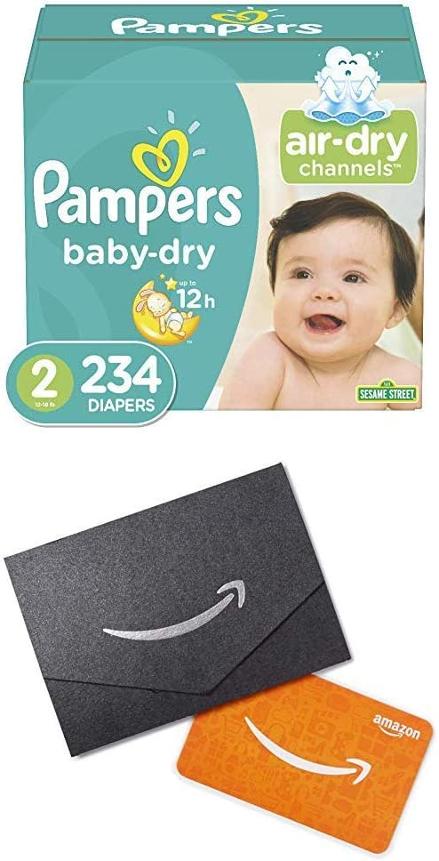 Diapers Size 2, 234 Count (2) - Pampers Baby Dry Disposable Baby Diapers, One Month Supply and $20 Gift Card