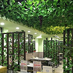 FightingFly Greenery Garland, 12 Strands 84ft Artificial Greenery Vines Fake Ivy Leaves Garland Hanging for Home Kitchen Garden Office Wedding Wall Decor, Grape Leaves 4