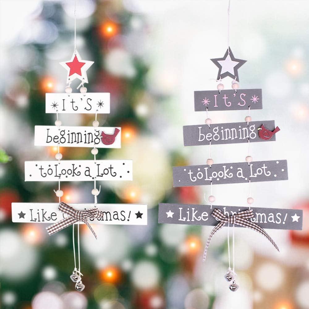 2 PCS Christmas Wooden Hanging Ornaments Letter Pendant Wooden Xmas Tree Decorations Star Bird Bow-Knot Letter Bells Design Wooden Hanging Decor for Christmas Tree Windows Door