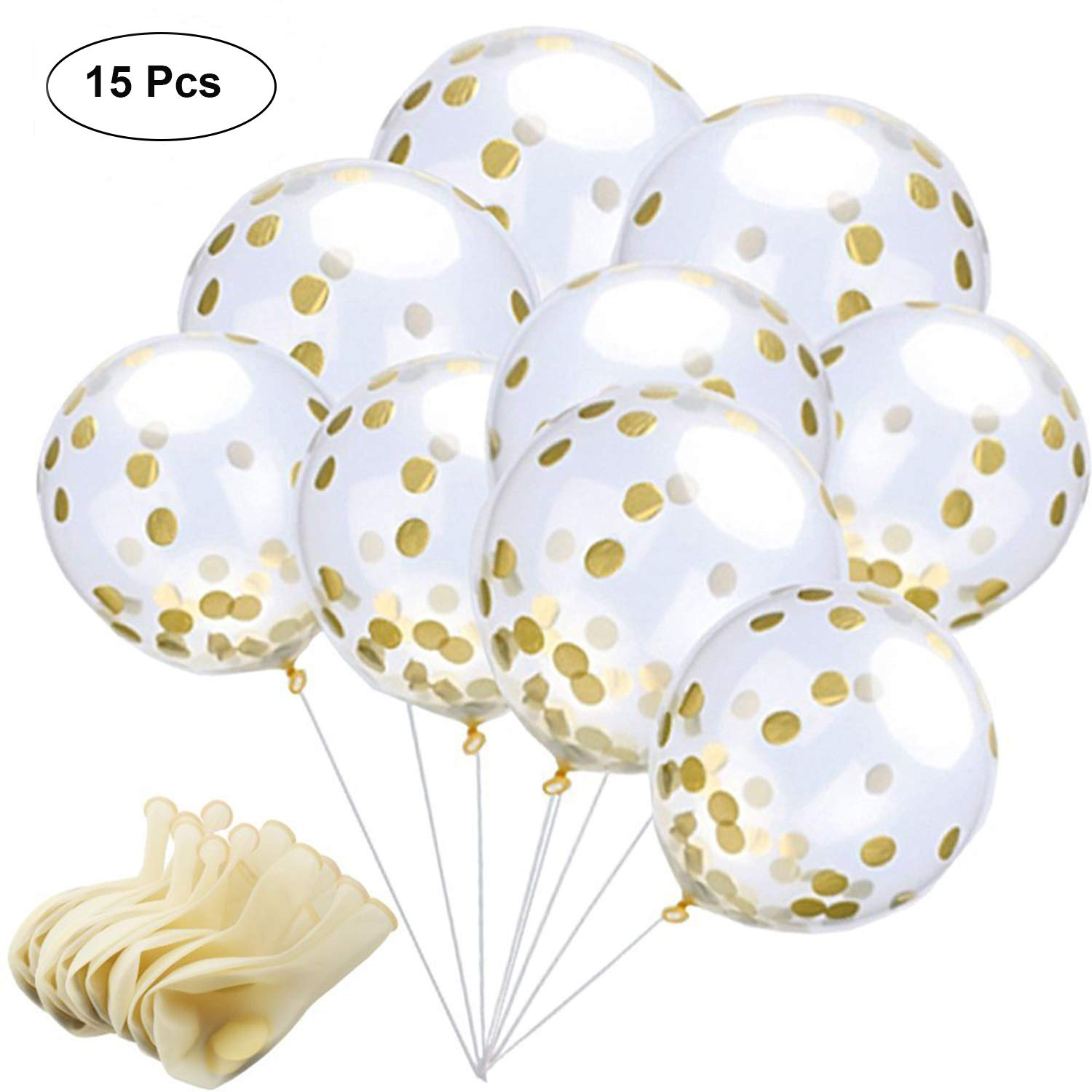 AMEITECH Gold Confetti Balloons, 12 Inches Clear Latex Party Balloons With Golden Paper Confetti Dots For Birthday, Wedding or Party Decorations (15 Pieces) (Gold Balloons) AMEIEU-06