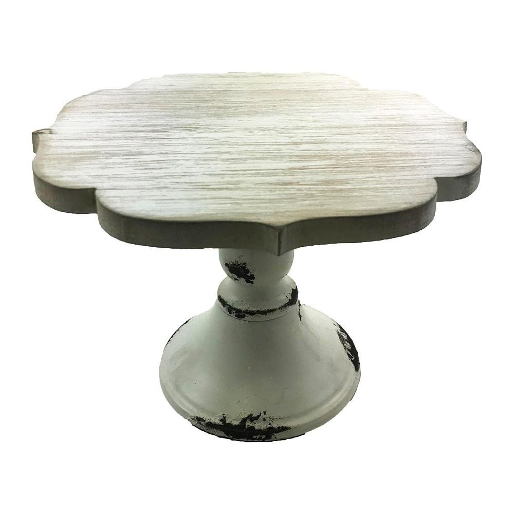 Cake Pedestal Stand Wood Vintage Wedding Cake Stand Cupcakes Cakes Assorted Size Large Small Medium (Small Scallop 9.4X9.4X5.4H, White wood)