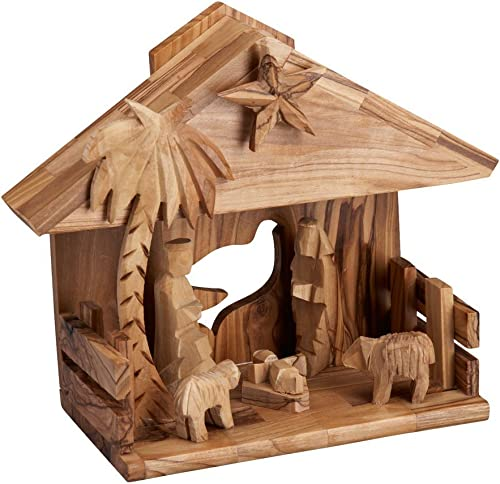 Ten Thousand Villages O Little Town of Bethlehem Song Playing Olive Wood Nativity Music Box Nativity
