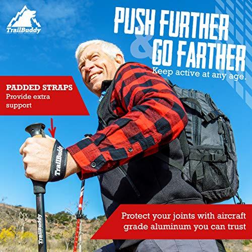 TrailBuddy Trekking Poles – 2-pc Pack Adjustable Hiking Walking Sticks – Strong, Lightweight Aluminum 7075 – Quick Adjust Flip-Lock – Cork Grip, Padded Strap – Free Bag, Accessories (Moss Green)