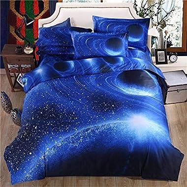 3d Mysterious Boundless Navy Blue Galaxy Twinkling Stars KissLife Bedding Sets Bedlinen Duvet/Quilt Cover Set 4pcs Queen Size