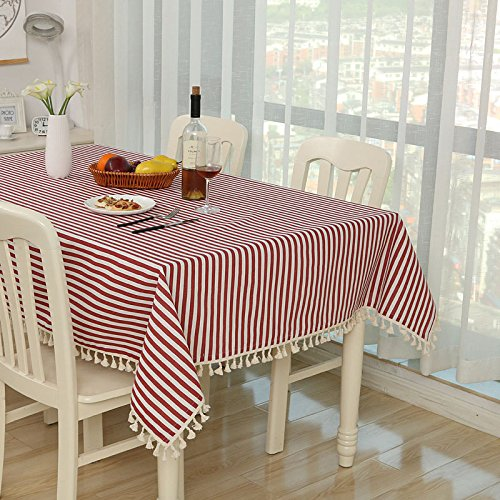 - RXIN Tassel Cotton Linen Tablecloths Wave Point Stripe Table Cover Rectangular Dust-Proof Table Cloths