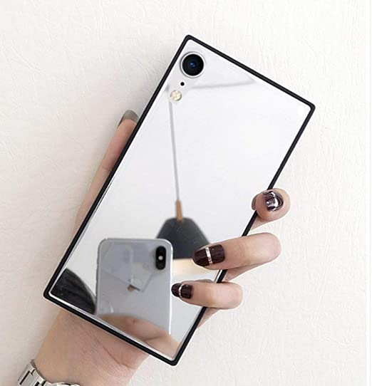 reputable site 2d100 c83eb iPhone XR Mirror Case,Luoming Luxury Square Glass Glossy Mirror Shockproof  Smooth Hard Case for iPhone XR 6.1inch
