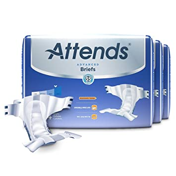 Attends Advanced Briefs with Advanced Dry-Lock Technology for Adult Incontinence Care, Large,