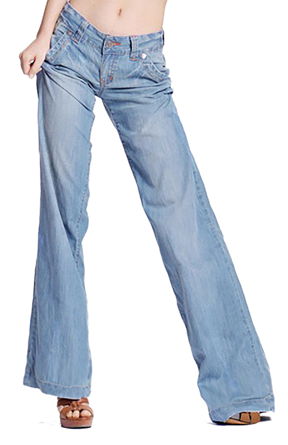 Women's Fashion Light Blue Loose Curvy Bootcut High Waist Straight Fit Jeans 12 by GARMOY (Image #2)