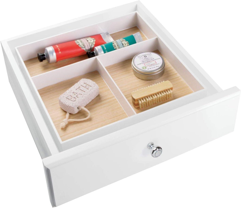 InterDesign - RealWood - Organizador de cajón del Cuarto de baño; para el tocador; Guarda Maquillaje, Productos de Belleza - 3 compartimientos - Blanco/Acabado Madera Clara