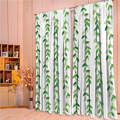 ZHICASSIESOPHIER Print Kids Curtains,Polyester Curtains Panels for Bedroom,Living Room,Ivy Branches and Leaves with Modern Natural Patterns 108Wx63L Inch ()