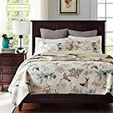 queen quilt birds - Brandream American Country Comforter Sets, Birds Printing Queen Quilt Set, Beige 3Pcs