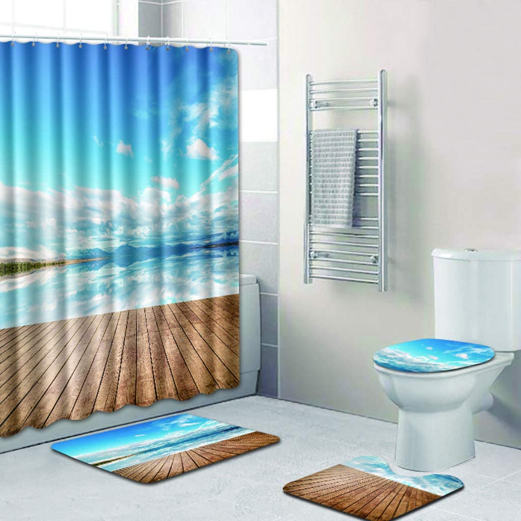 4 PCS Shower Curtain Sets Bathroom With Hooks Toilet Cover Mat Pad Set 2020 Hot
