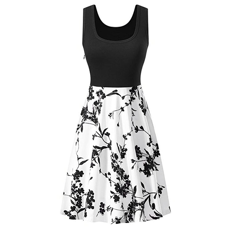 Damen Elegante A-Line V-Ausschnitt Kurzarm Sommerkleid ...