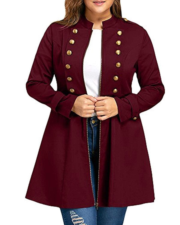 KENANCY Women's Plus Size Coat Double Breasted Long Sleeve Jackets Trench Coats