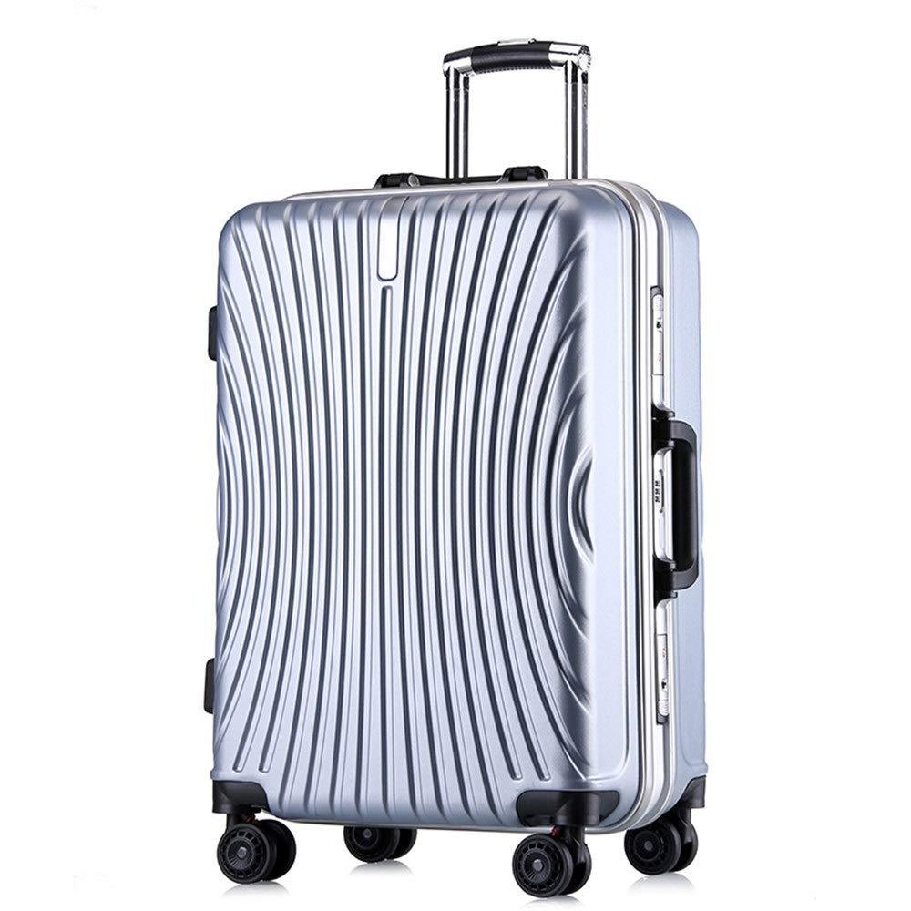 スーツケース シングルピースハードシェル微調整旅行荷物スーツケースライトポータブルでコラムスーツケースサイレントローテーター多方向航空機飛行 週末にスーツケースを運ぶ (色 : 銀, サイズ : 20inches) B07SW32K9B