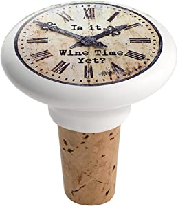 Epic Products Wine Time Yet? Ceramic Bottle Stopper, Multicolor