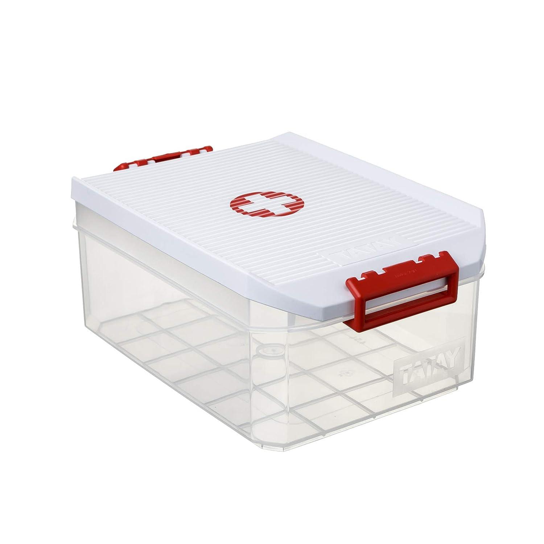 Medidas 19 x 30 x 12.5 cm Lote de 2 Botiquines Color Blanco con el Simbolo de la Cruz Roja TATAY 1150209 Cajas Multiusos de 4.5 Litros de Capacidad por Unidad