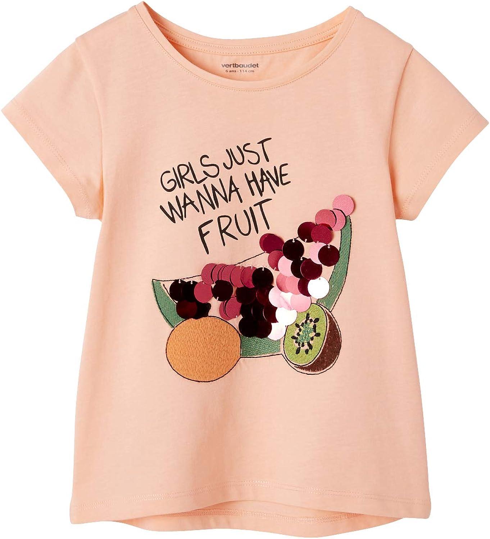 VERTBAUDET T-Shirt Fille Motifs Fruits Sequins g/éants et Broderies