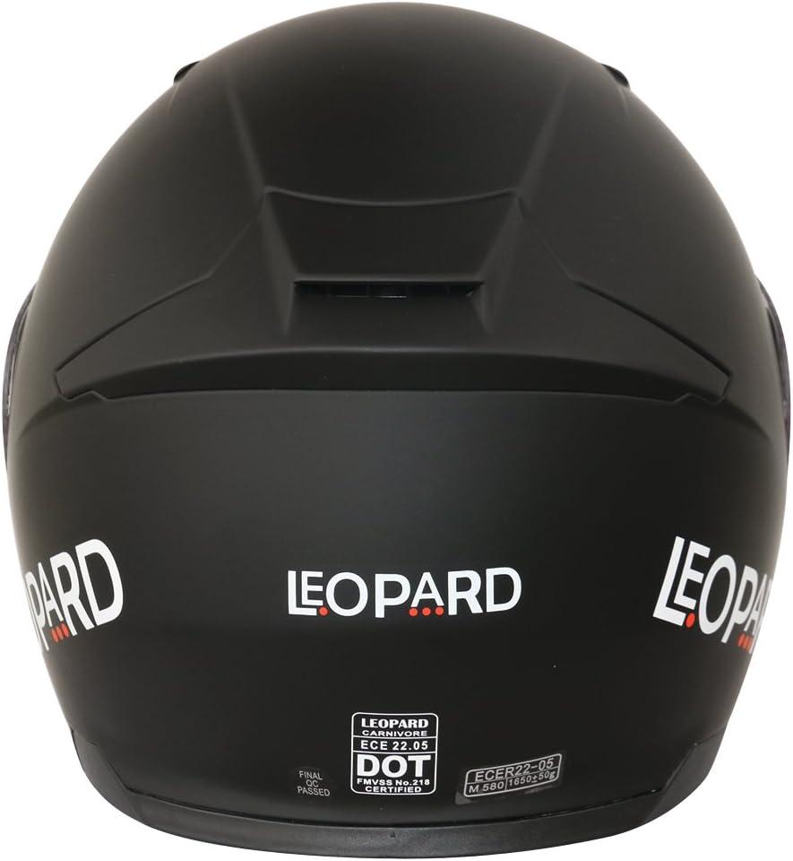 Motorradhelm Mattschwarz XL XS-XXL Leopard LEO-888 Doppelvisier Klapphelm Integralhelm Damen und Herren ECE Genehmigt 61-62cm