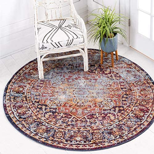 Unique Loom Augustus Collection Boho Traditional Vintage Rust Red Round Rug 5 0 x 5 0