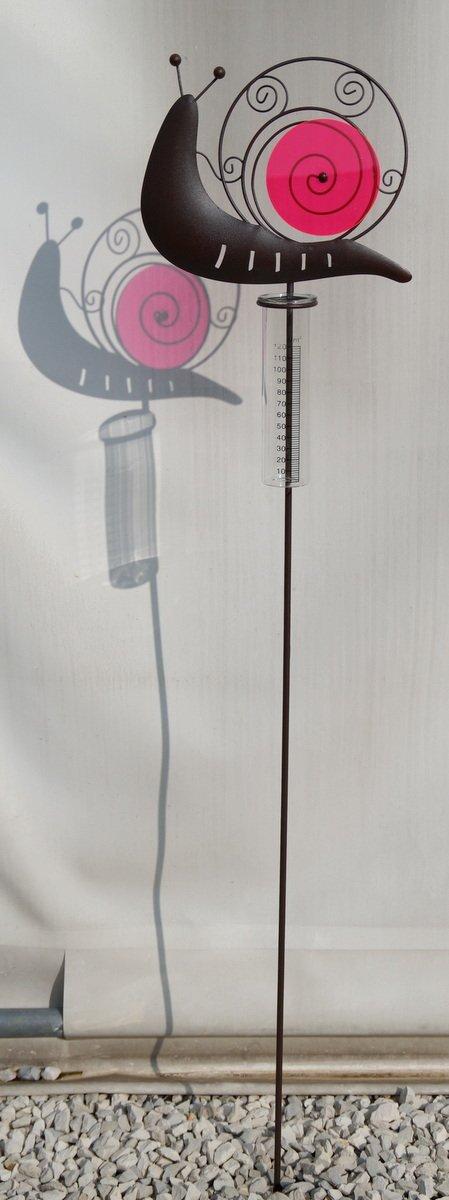 Regenmesser Schnecke aus Metall mit Plexiglas in pink Unbekannt