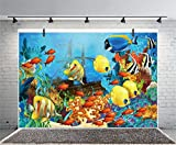Leyiyi 8x6ft Photography Background 3D Tropical Fish Birthday Party Backdrop Pirate Ship Underwater Treasure Sealife Summer Camp Diving Baby Shower Photo Portrait Vinyl Video Studio Prop