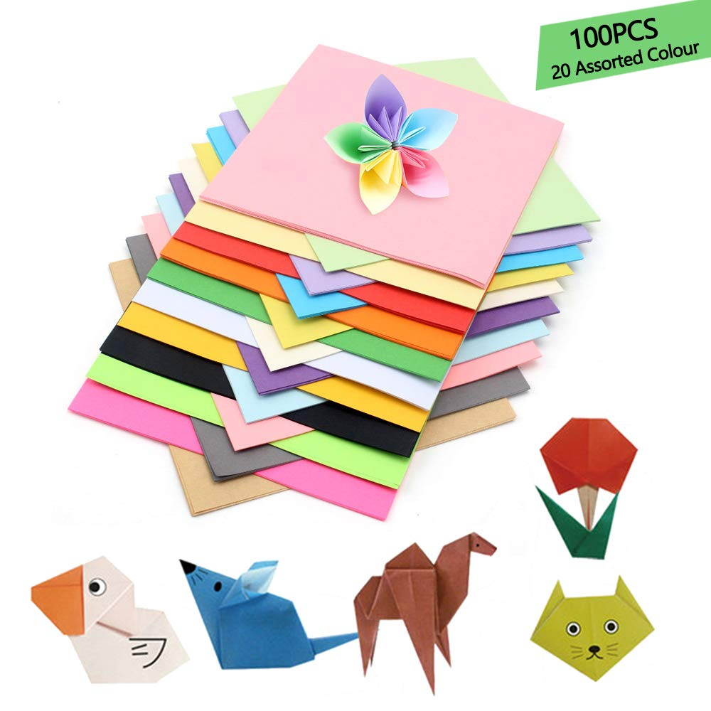 Origami Paper, 100 Sheets 15x15cm / 6 inch Square Paper for Fold Crane,  Rose, Flowers, Airplanes, Hearts, Kids Arts and DIY Crafts, Decoration