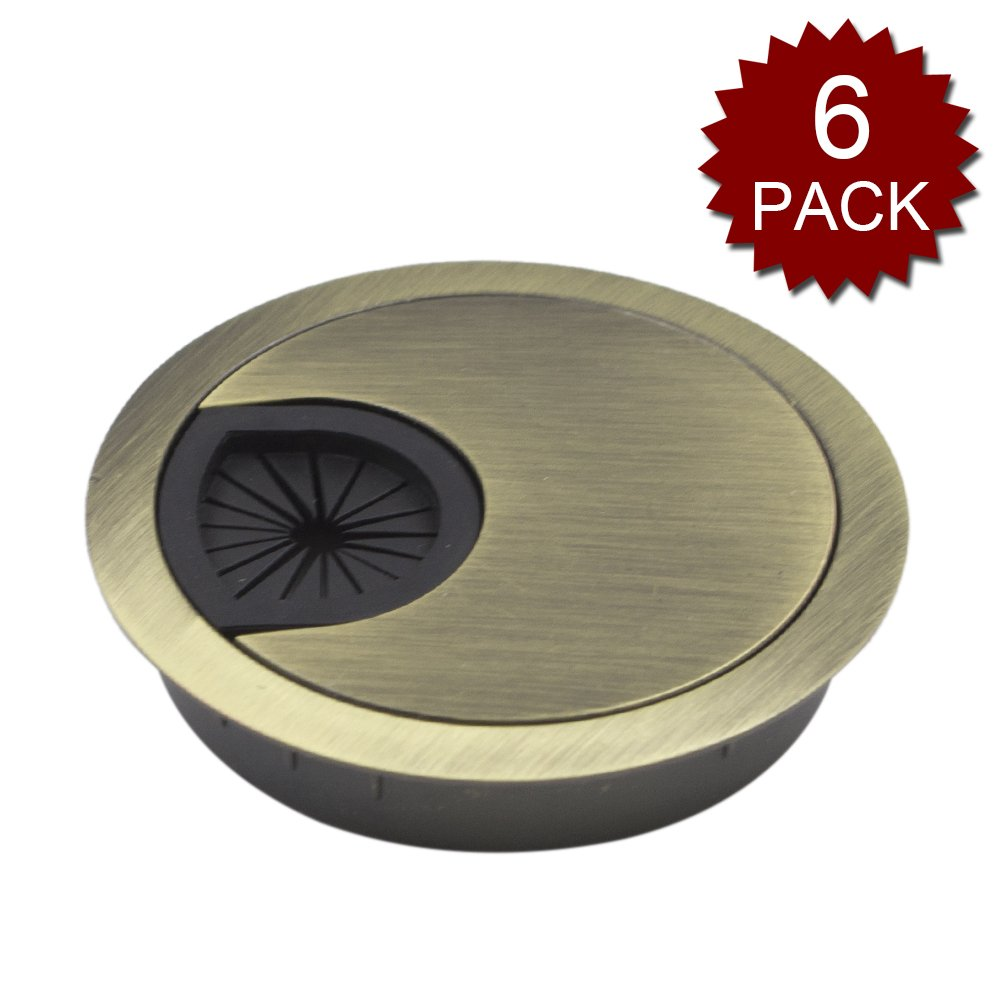 GOGO Desk Grommet Cable Hole Cover Grommet for Office, Metal-Bronze-2 3/8Inches 6 Pack