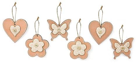 6x Deko Anhänger Blume Herz Schmetterling Zum Hängen Aus Holz Beige