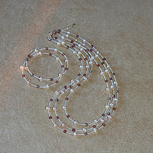 Handmade Cultured pearls multi strand beach wedding bridal necklace and hoop earrings jewelry -