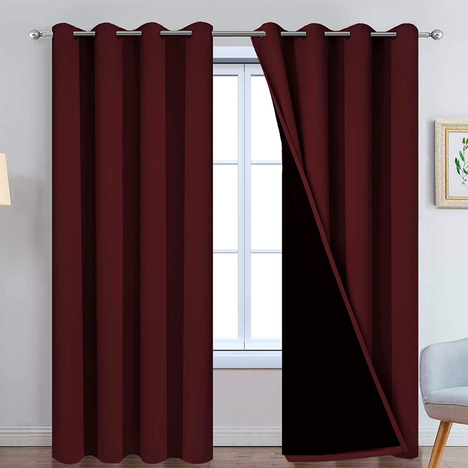 Yakamok 100% Blackout Curtains for Living Room, Noise Reducing Drapes ,Thermal Insulated Blackout Curtains for Bedroom(52Wx84L, Burgundy Red, 2 Panels)