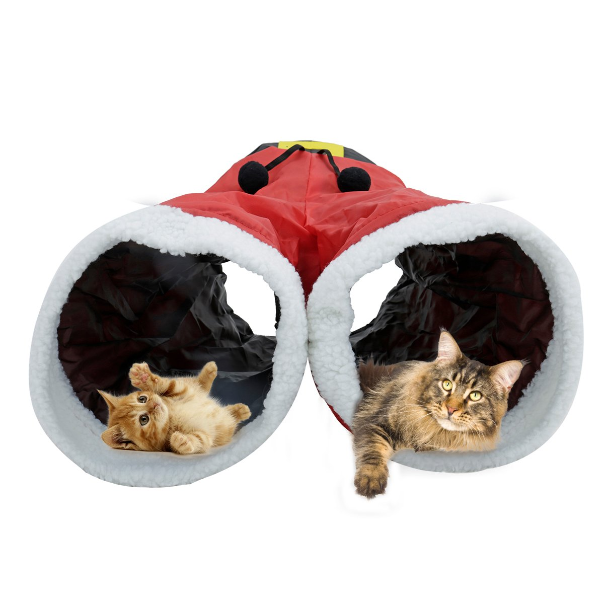 Speedy Pet Collapsible Cat Toys Play Tunnel Santa Claus Pants Style Durable Comfortable Hideaway Pet Crinkle Tunnel for Pets Christmas Gift