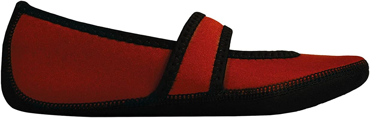 NuFoot Mary Jane Indoor Slippers Stretch with Non Slip Soles Crimson
