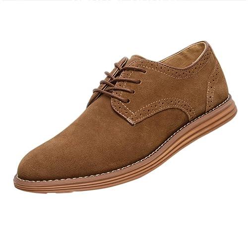Gleader NUEVOS zapatos de gamuza de cuero de estilo europeo oxfords de los hombres casuales 999 Poco Bronceada(tamano 41) zvIVZPCy