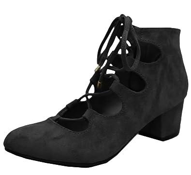 de6c0607578 Breckelle's Women's Ghillie Self-Tie Cutout Block Heel Pump