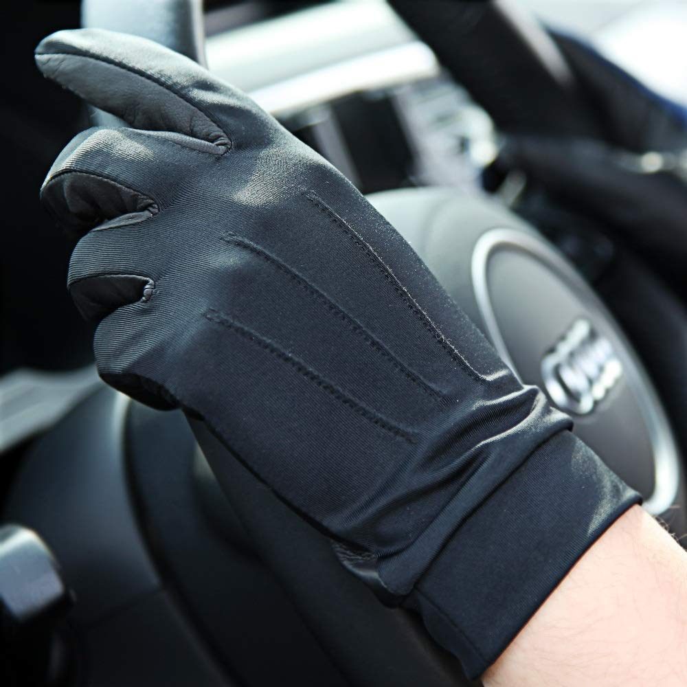 Comfortable UV Protection UPF50+ Hand Back Breathable Elastic Outdoor Protective Sun Protection Gloves Durable (Color : Black, Size : S-Five Pairs)