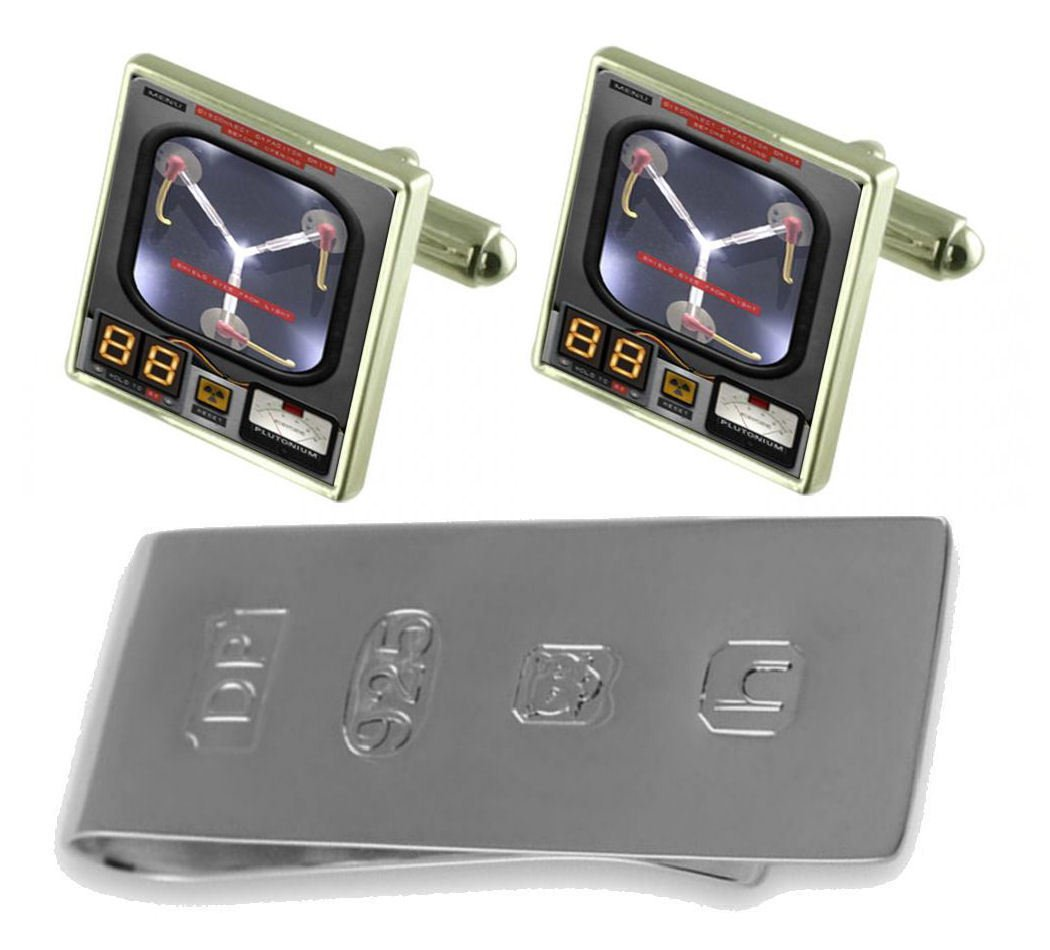 Back Future Time Travel Flux Capacitor Cufflinks & James Bond Money Clip by Select Gifts