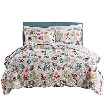 1ce1fcbf8bd5a Amazon.com  mixinni Super Soft Coral Ocean Bedding Set Seashells ...