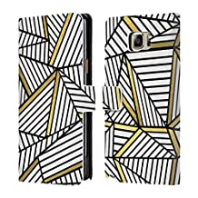 Official Project M White And Black Gold Abstract Lines Two Tone Leather Book Wallet Case Cover For Samsung Galaxy Note5 / Note 5
