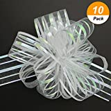 #8: TecUnite 10 Pack Pull Bow, Organza White Large 6 Inches Pull String Bows for Wedding Christmas Easter Gifts