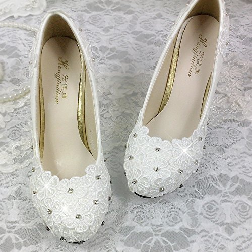 Crystal redonda plataforma blanco impermeable de superficial Bride Wedding cabeza Blanco boca encaje Shoes de JINGXINSTORE tacones Flor Diamond altos xw0qnvtqRT