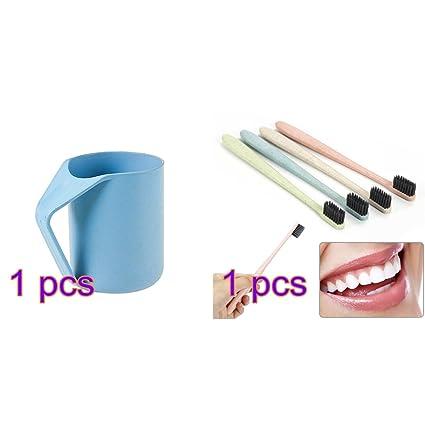 1 juego de cepillos de dientes de bambú para el cuidado bucal de trigo de carbón