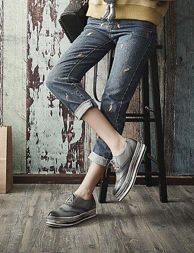 Extérieure Njx Plateforme Travail Bureau Arrondi amp; 2016 Bout Femme Richelieu Cn34 Gris Chaussures Marron Confort Décontracté Gray Eu35 us5 Noir Uk3 FrtnrYfP