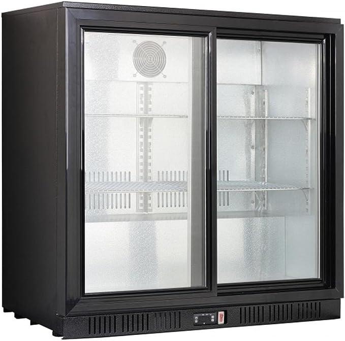 Gastroline - Mueble bar, refrigerador de botellas, con doble puerta corredera, color negro: Amazon.es: Grandes electrodomésticos