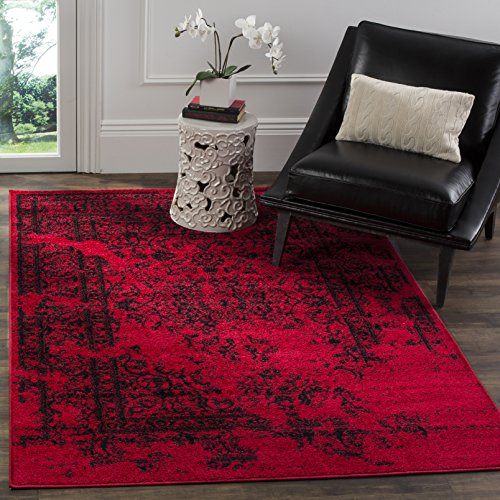 Safavieh Adirondack Collection ADR101F Red and Black Oriental Vintage Distressed Area Rug (8&#82 ...