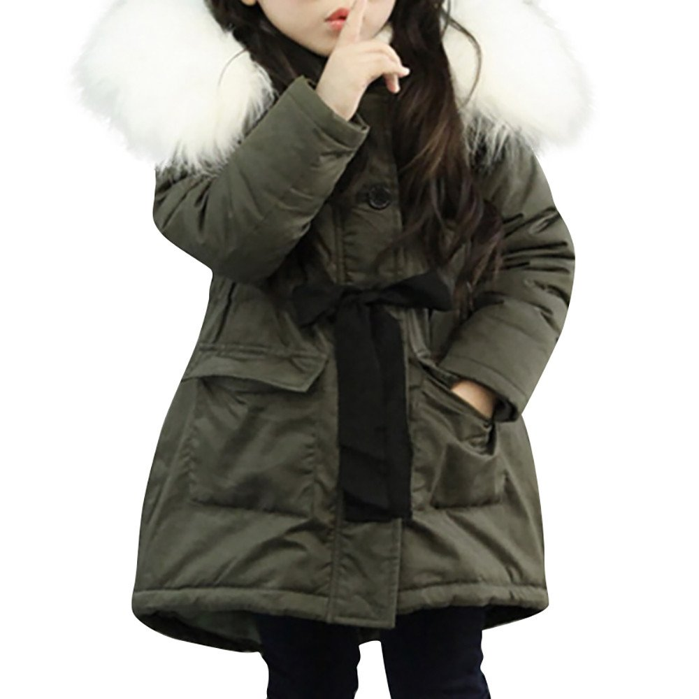 Tronet Baby Girl Boy Winter Fur Long Thick Warm Hooded Coat Tops Jacket Parkas (Army Green, 150(Age:6-7Years))