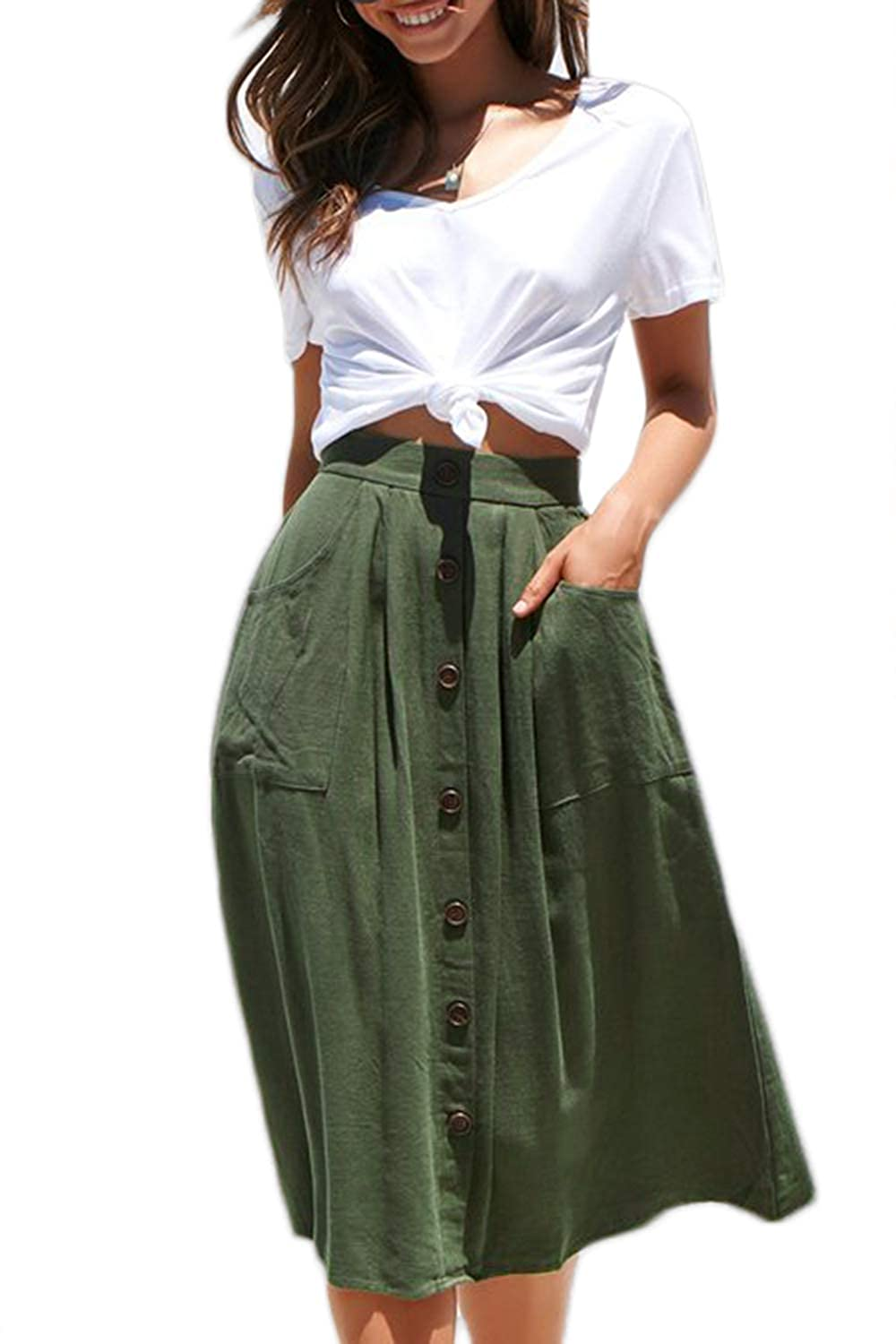 d420f624b78e Meyeeka Womens Casual High Waist Flared A-line Skirt Pleated Midi Skirt  with Pocket at Amazon Women's Clothing store:
