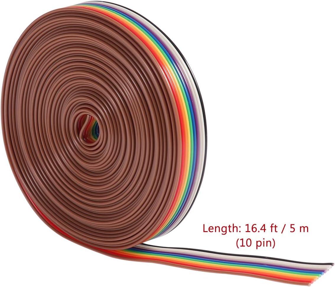fivekim C/âble dextension de Ruban Plat IDC 2 Broches 16 Broches Fil Arc-en-Ciel avec Pas de Ligne de 1,27 mm connecter Les Fils Ligne Arc-en-Ciel Couleur Arc-en-Ciel