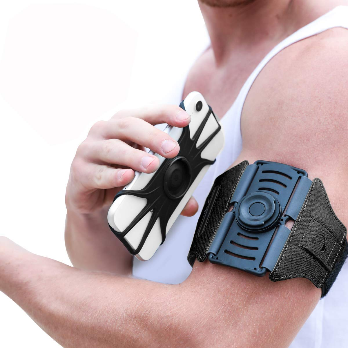 VUP Running Armband [All Screen Friendly, Detachable & 360°Rotatable] for iPhone Xs Max/Xs/XR/8 Plus/7 Plus/6s Plus/6, Galaxy S10 Plus/ S9 Plus/ S8/ A8 Plus, Note 4/5/8/9, Google Pixel 3/2 XL-Black by VUP